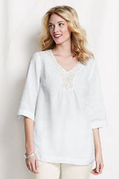 Women's Plus Size 3/4-sleeve Embellished V-neck Tunic