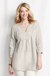 Women's Plus Size Yoke Front Linen Splitneck Tunic Top