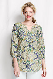 Women's Plus Size Pattern Yoke Front Splitneck Tunic Top