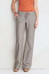 Women's Linen Cotton Pattern Wide Leg Pants