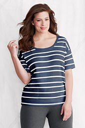 Women's Plus Size Elbow Sleeve Starfish Stripe Terry Scoopneck Top