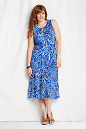 Women's Plus Floral Jersey Keyhole Dress