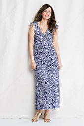 Women's Pattern Slub French Terry Tie Shoulder Maxi Dress