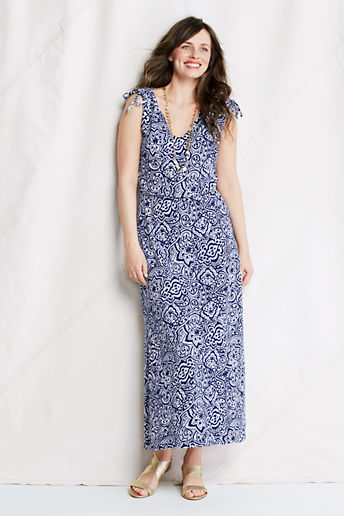 Women's Regular Pattern Slub French Terry Tie Shoulder Maxi Dress - Imperial Navy Print, M