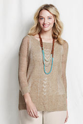 Women's 3/4-sleeve Linen Cotton Cable Marl Tunic