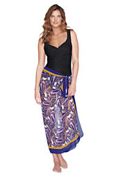 Women's Border Paisley Chiffon Pareo Cover-up