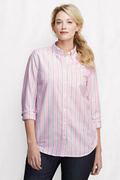 Women's Plus Size Pattern Supima Oxford Back Pleat Buttondown Tunic