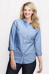 Women's Plus Size Supima Oxford Back Pleat Buttondown Tunic