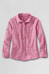 Girls' Long Sleeve Ruffle Placket Oxford Shirt