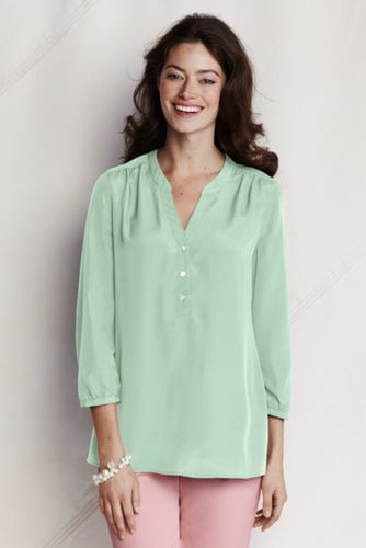 Women's Plain Three-quarter sleeve Georgette Henley Top