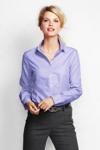 Women's Regular Long Sleeve Plain Supima Non-Iron Shirt