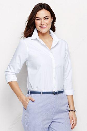 Women's Plus Long Sleeve Plain Supima Non-Iron Shirt