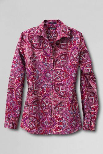 Bügelfreie Supima-Bluse mit Muster für Damen
