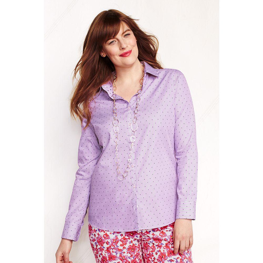 Lands' End Women's Plus Size Long Sleeve Pattern Supima No Iron Shirt at Sears.com