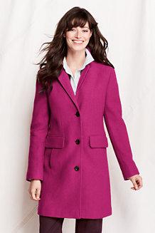 Women's Boiled Wool Blend Car Coat
