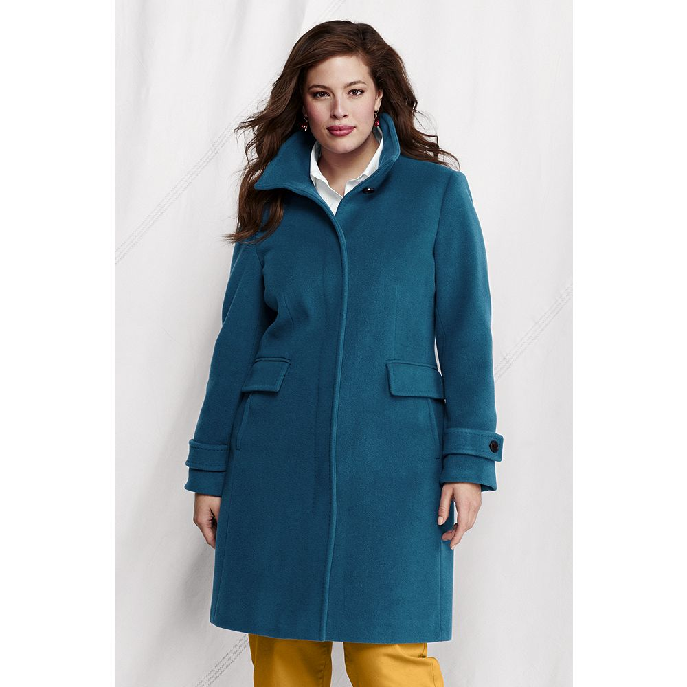 Lands' End Women's Plus Size Luxe Wool Walker Coat at Sears.com