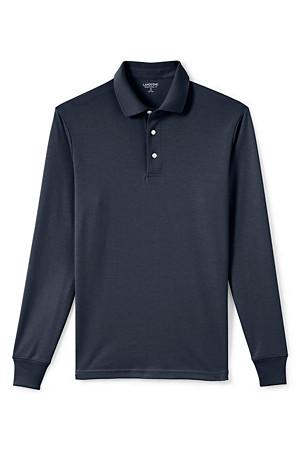 44e8aae9662 Men's Long Sleeve Supima Polo Shirt, Traditional Fit | Lands' End