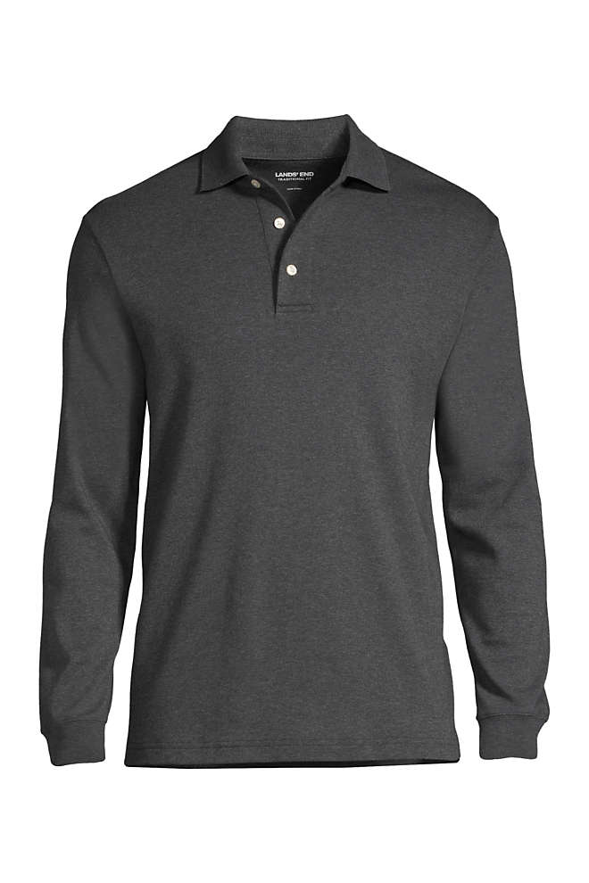 Men's Big and Tall Long Sleeve Super Soft Supima Polo Shirt, Front