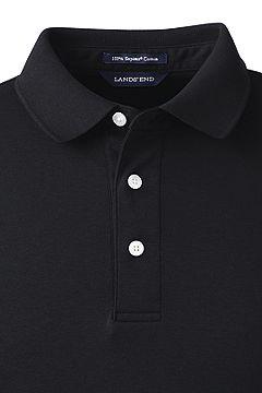 Long Sleeve Super Soft Supima Polo Shirt 433522: Black