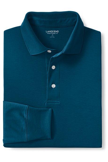 Men's Big and Tall Long Sleeve Super Soft Supima Polo Shirt