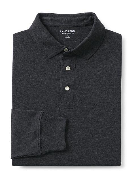 Long Sleeve Super Soft Supima Polo Shirt 433522: Dark Charcoal Heather