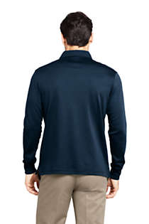 Men's Tall Long Sleeve Super Soft Supima Polo Shirt, Back