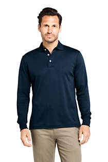 Men's Tall Long Sleeve Super Soft Supima Polo Shirt, Front