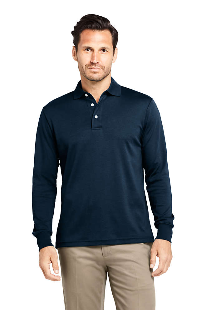 Men's Long Sleeve Super Soft Supima Polo Shirt, Front