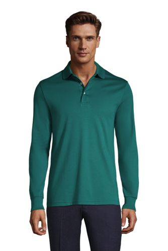 Lands End Men's Long Sleeve Super Soft Supima Polo Shirt