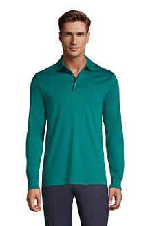 Men's Long Sleeve Supima Polo Shirt, Traditional Fit