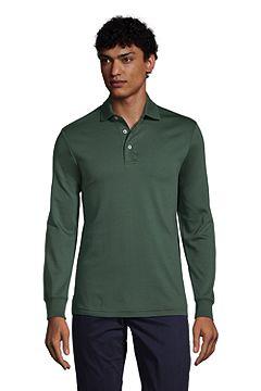 Long Sleeve Super Soft Supima Polo Shirt 433522: Deep Woodland Green