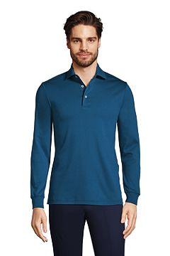 Long Sleeve Super Soft Supima Polo Shirt 433522: Baltic Teal