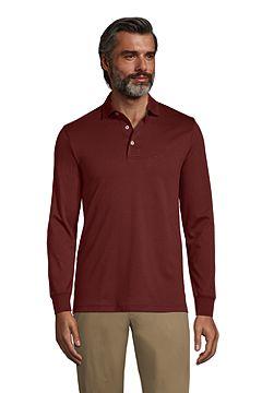 Long Sleeve Super Soft Supima Polo Shirt 433522: Rust Red