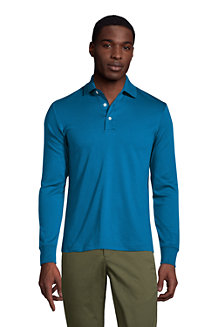 Men's Long Sleeve Supima Polo Shirt, Tailored Fit
