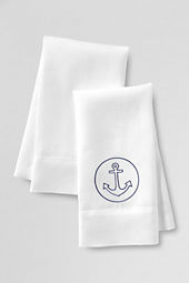 Embroidered Anchor Linen Guest Towels (Set of 2)