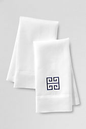 Greek Key Linen Guest Towels (Set of 2)