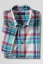 Men's Short Sleeve White Canvas Madras Shirt