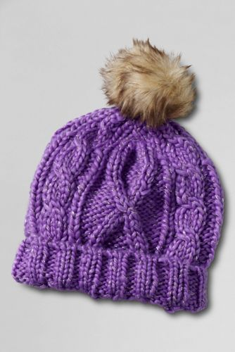 Girls' Metallic Shimmer Aran Cable Bobble Hat