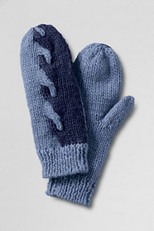Women's Ombre Cable Knit Mittens