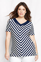 Women's Plus Size Short Sleeve Lightweight Jersey V-neck Stripe Tunic