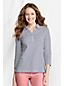 Gestreiftes Interlock-Poloshirt mit 3/4-Ärmeln für Damen in Petite-Größe