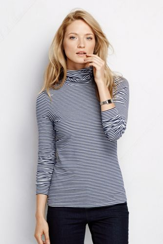Women's Petite Fitted Cotton/Modal Striped Roll Neck