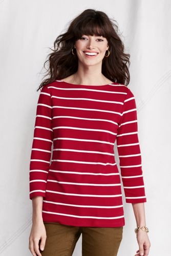 Women's Plus Striped Button Shoulder Boatneck Tee