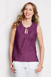 Women's Sleeveless Linen Tie-front Shell