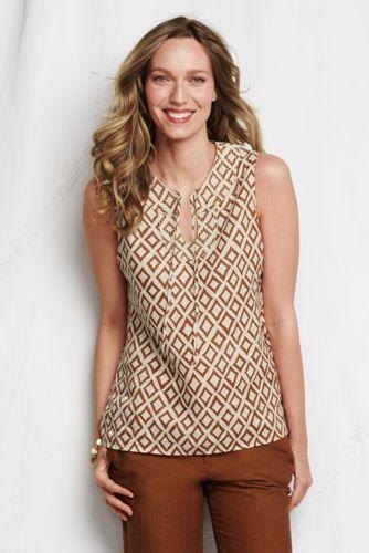 Women's Regular Keyhole Neck Patterned Linen Shell