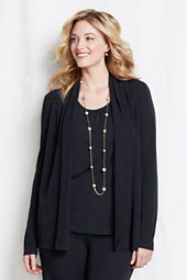 Women's Plus Size Long Sleeve Matte Jersey Open Cardigan