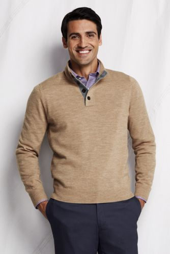 Offerta: Lands' End Men's Regular Merino Button-neck Sweater