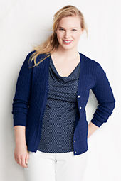 Women's Long Sleeve Fine Gauge Cotton Cable V-neck Cardigan