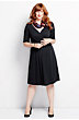 Women's Plus Size Elbow Sleeve Cotton Modal Fit and Flare Dress
