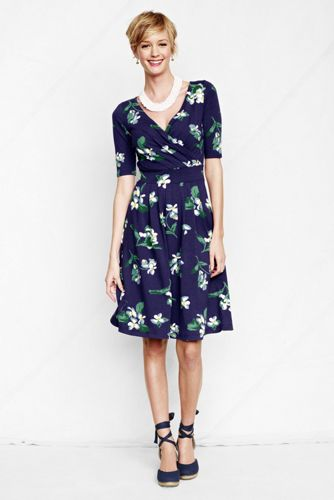Women's Regular Elbow Sleeve Pattern Cotton Modal Fit and Flare Dress - Blue Indigo Floral, XS